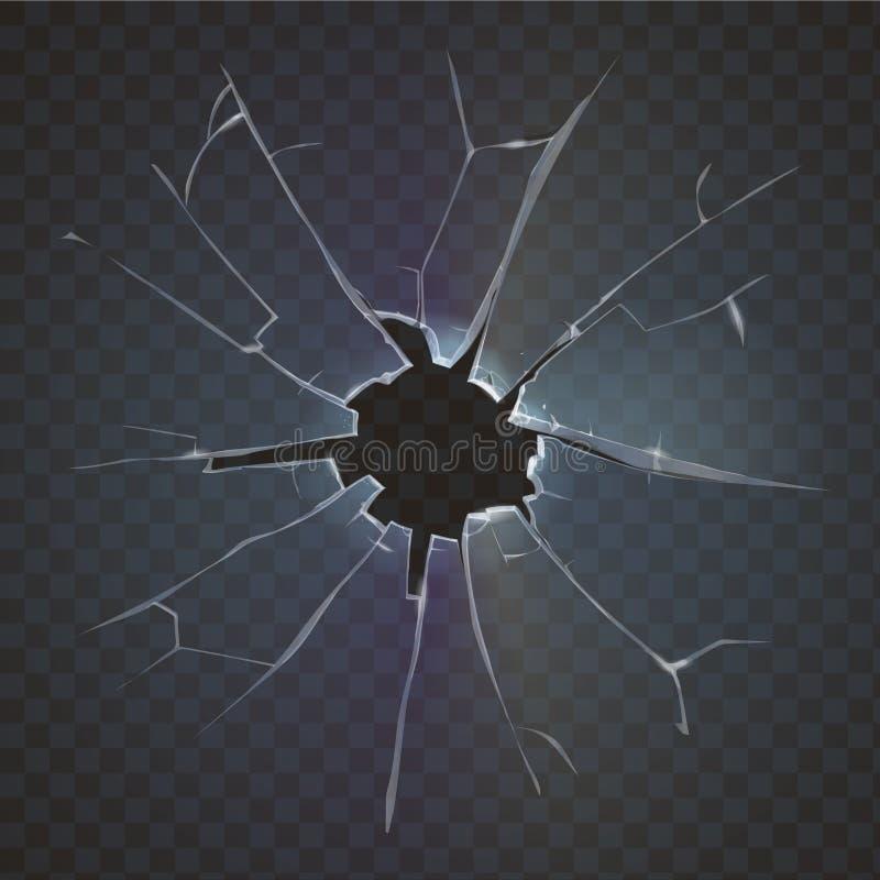 Realistisk bruten illustration för vektor för förstörelse för exponeringsglassvartbakgrund royaltyfri illustrationer