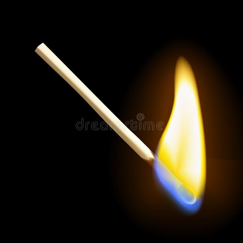 Realistisk burning match stock illustrationer