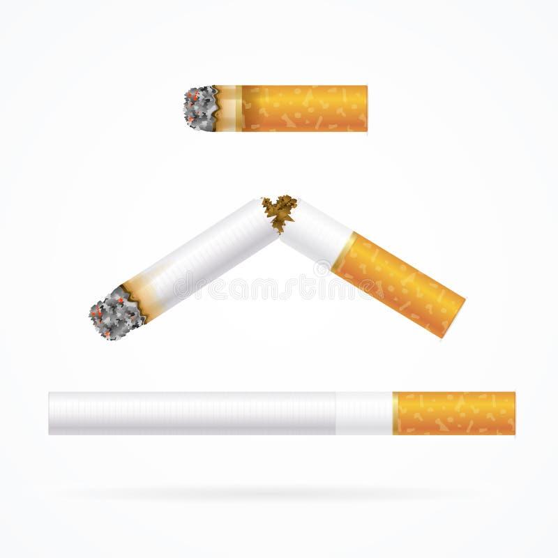 Realistisk cigarett med det traditionella filtret vektor royaltyfri illustrationer