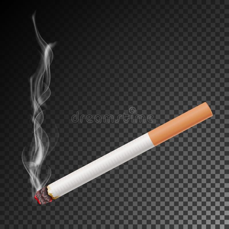 Realistisk cigarett med rökvektorn illustration Brinnande klassisk röka cigarett på genomskinligt vektor illustrationer