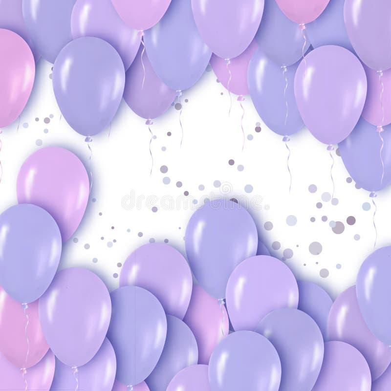 Realistisk 3d purpurfärgade Violet Metallic Balloons Flying för parti och berömmar royaltyfri illustrationer
