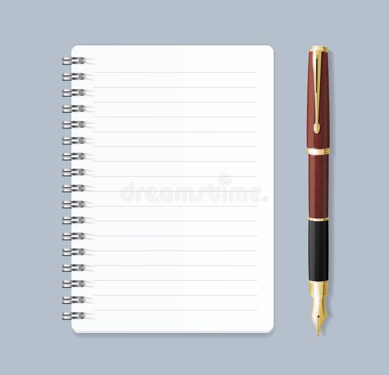 Realistisk 3d specificerade anteckningsboken fodrad spiral och pennan vektor royaltyfri illustrationer