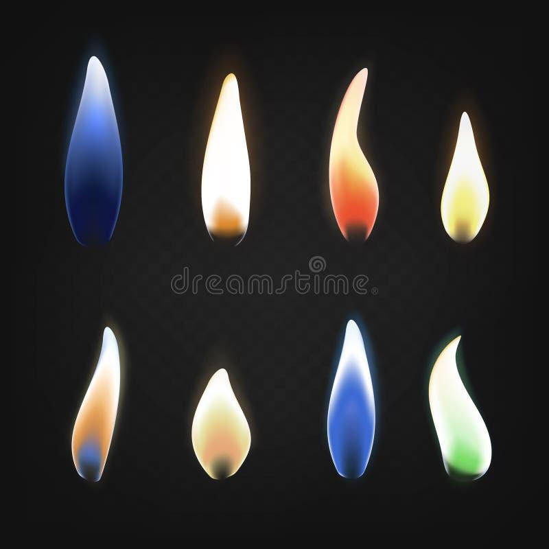 Realistisk 3d specificerade den brännande mångfärgade flamman av gasuppsättningen vektor stock illustrationer