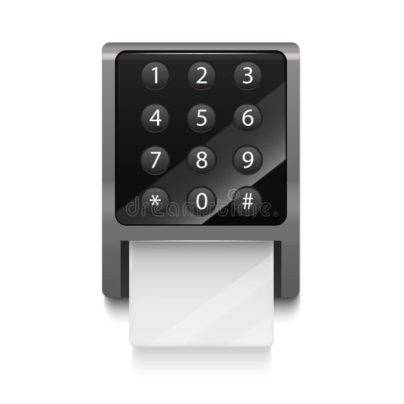 Realistisk 3d specificerade det elektroniska låset med nummer knäppas vektor stock illustrationer