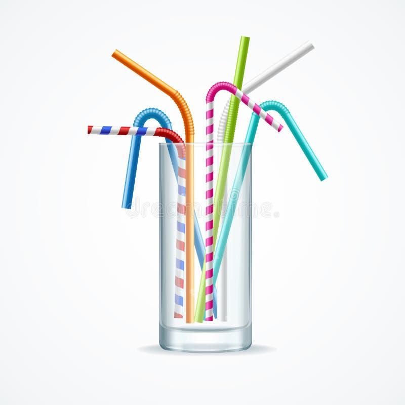 Realistisk 3d specificerade plast- sugrör för färg i genomskinligt exponeringsglas vektor stock illustrationer