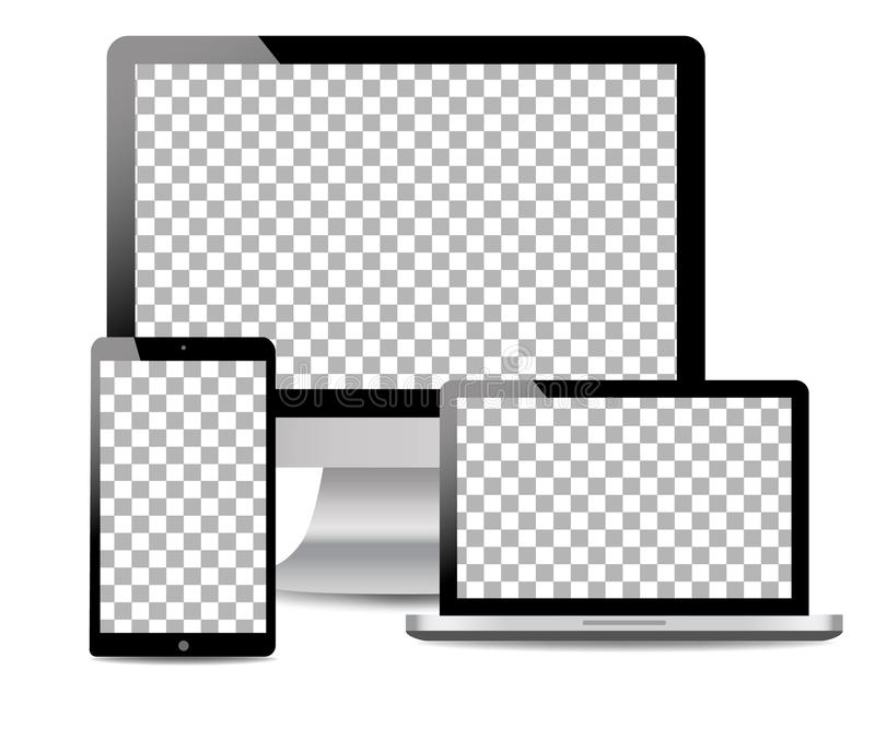 Realistisk dator, bärbar dator, handlagminnestavla i modellstil Moderna apparater på isolerad bakgrund eps10 blommar yellow f?r w stock illustrationer