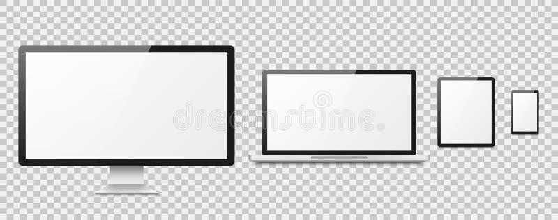 Realistisk dator Skrivbords- skärm för dator, uppsättning för vektor för bildskärm för smartphone för telefon för apparatbärbar d stock illustrationer