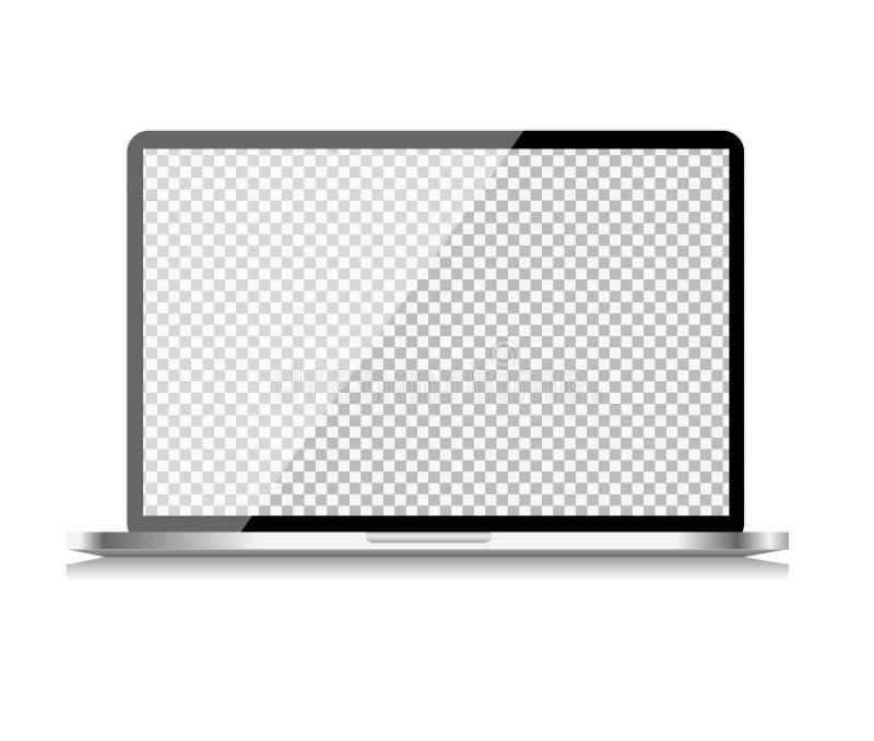 Realistisk datorbärbar dator med den genomskinliga tapeten på skärmen på vit bakgrund också vektor för coreldrawillustration royaltyfri illustrationer