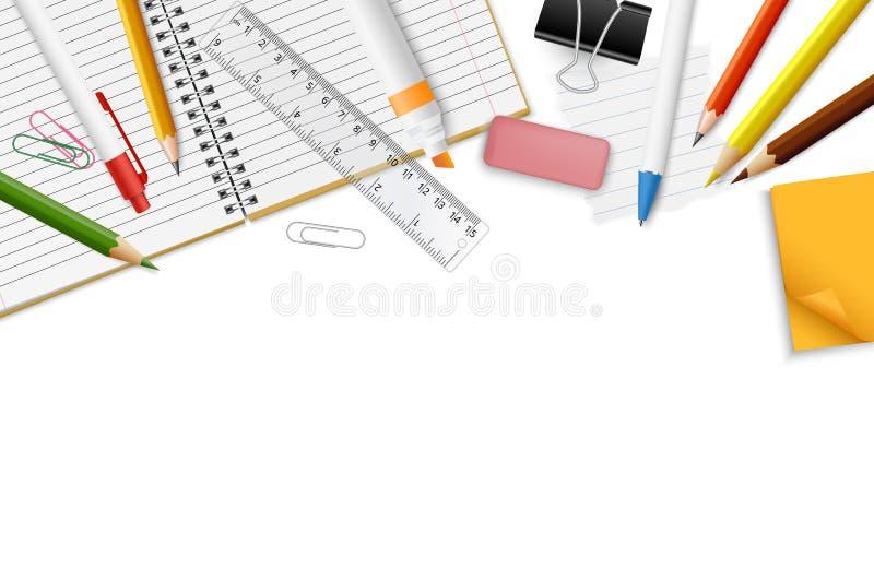 Realistisk dekorativ gräns för vektor med brevpappertillförsel och utrymme för din text - baksida till skola, utbildning som stud royaltyfri fotografi