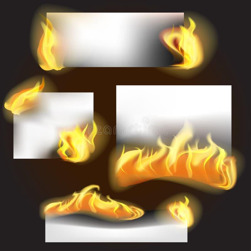 Realistisk detaljerad baneruppsättning för brand 3d vektor stock illustrationer