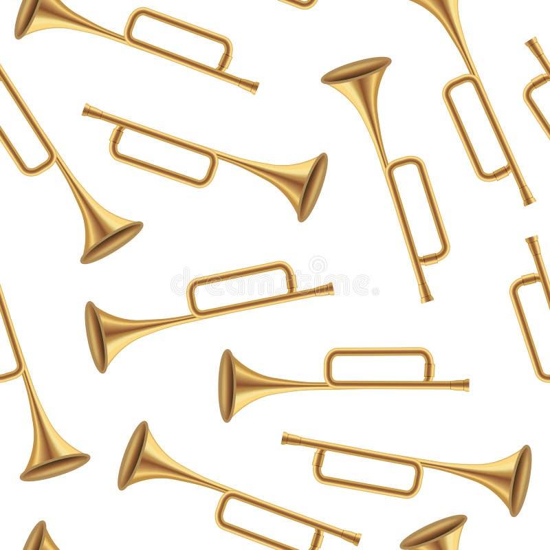Realistisk detaljerad 3d sömlös modellbakgrund för konung Royal Golden Horn vektor stock illustrationer