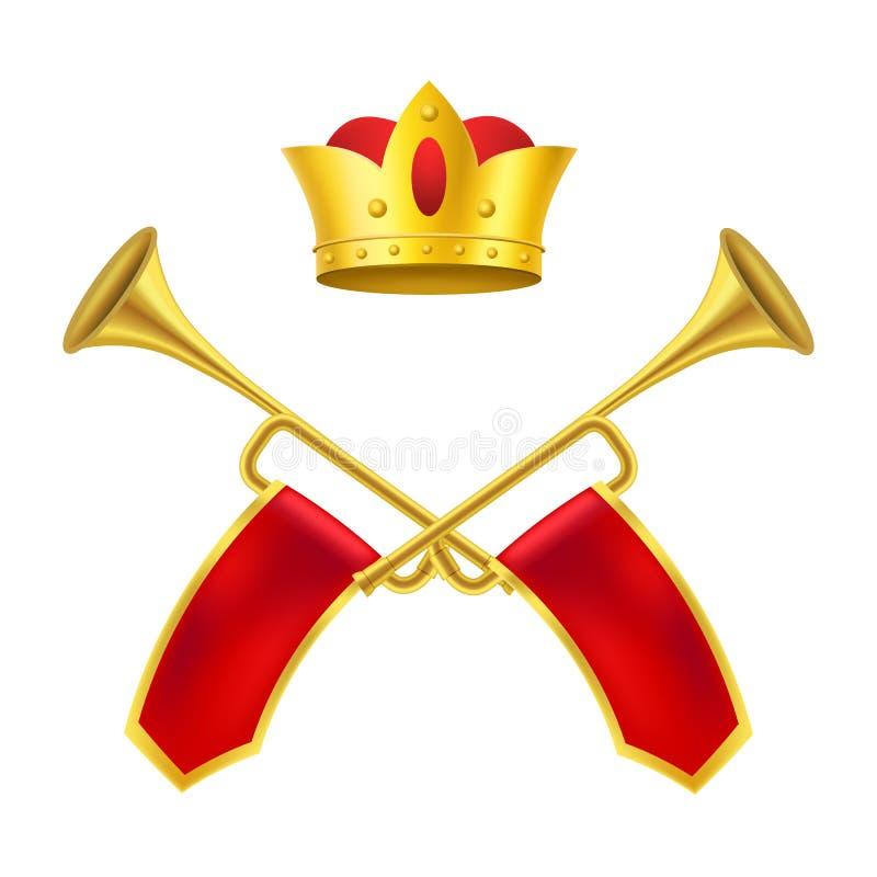 Realistisk detaljerad 3d uppsättning för konung Royal Golden Horn och guld- krona vektor vektor illustrationer