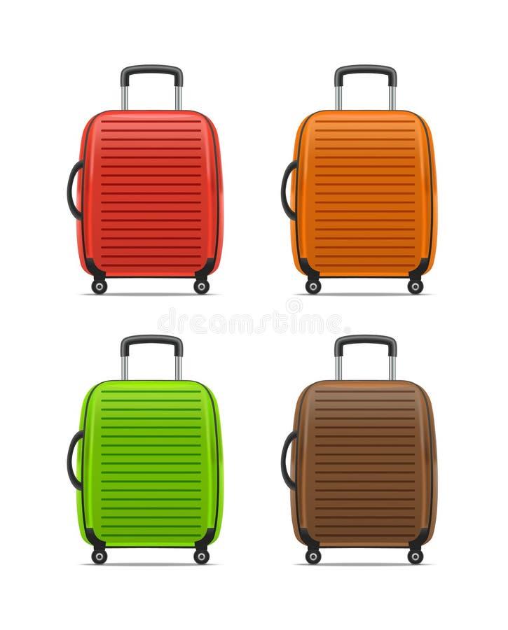 Realistisk detaljerad färgfall eller resväska vektor vektor illustrationer