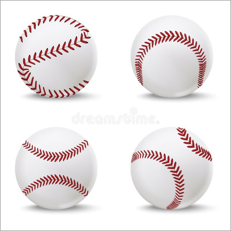 Realistisk detaljerad för läderboll för baseball 3d uppsättning vektor stock illustrationer