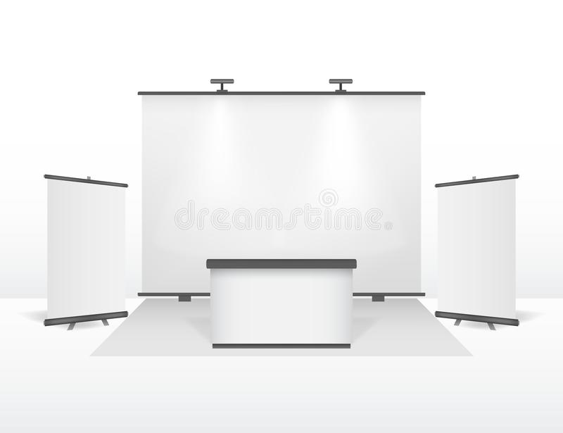 Realistisk detaljerad för ställningsdesign för utställning 3d uppsättning vektor vektor illustrationer
