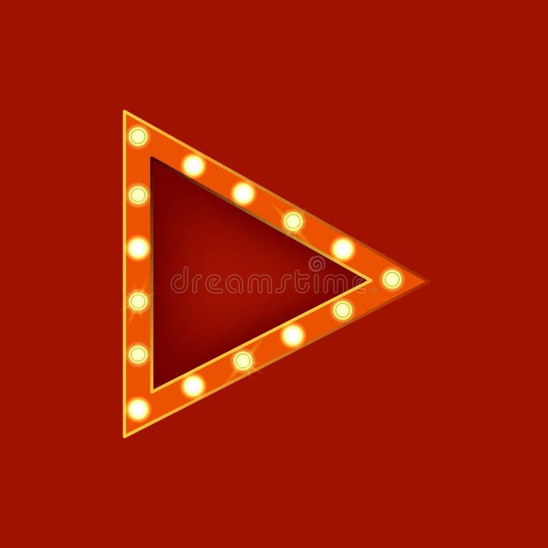Realistisk detaljerad glödande triangel för tecken 3d vektor royaltyfri illustrationer