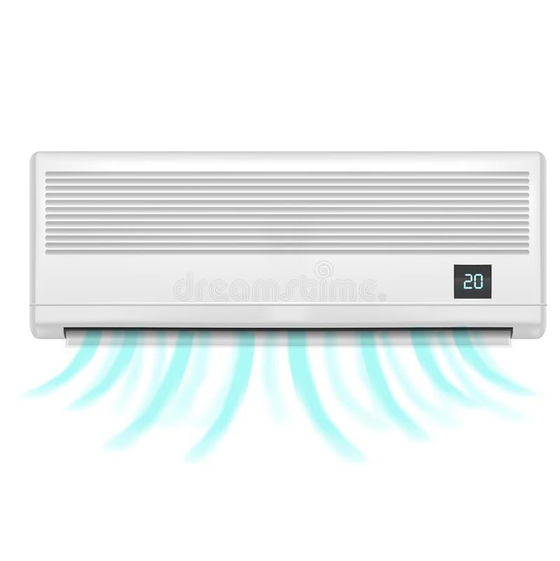 Realistisk detaljerad luftkonditioneringsapparat vektor royaltyfri illustrationer