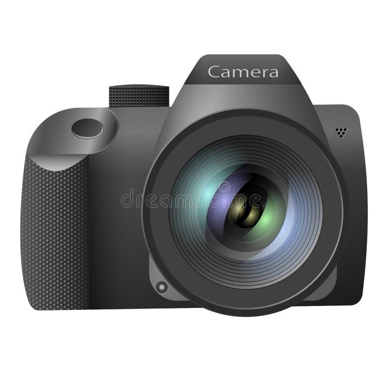 Realistisk digital kamera med en lins på en vit bakgrund också vektor för coreldrawillustration fotografering för bildbyråer