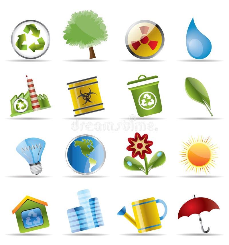 realistisk ekologisymbol stock illustrationer