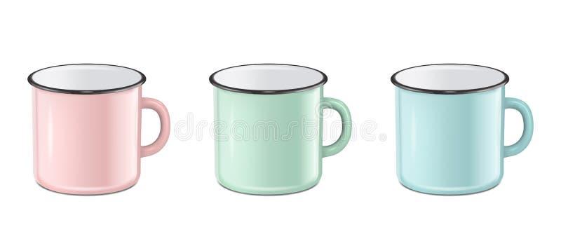 Realistisk emaljmetall för vektorn i pastellfärgade färger - rosa färger, gräsplan, blått - råna fastställt som isoleras på vit b royaltyfri illustrationer