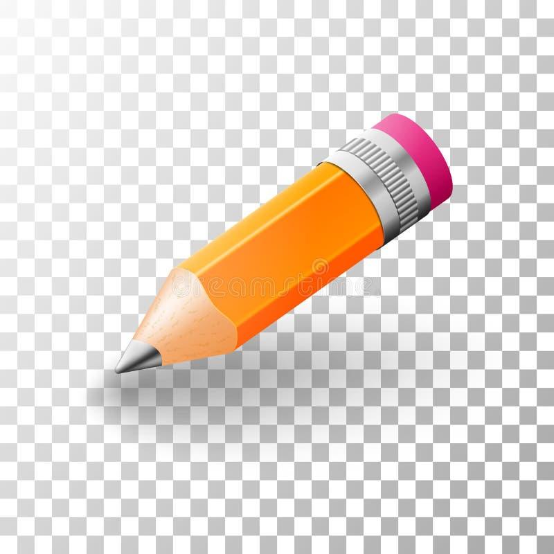 Realistisk enkel blyertspenna för grafit 3d vektor illustrationer