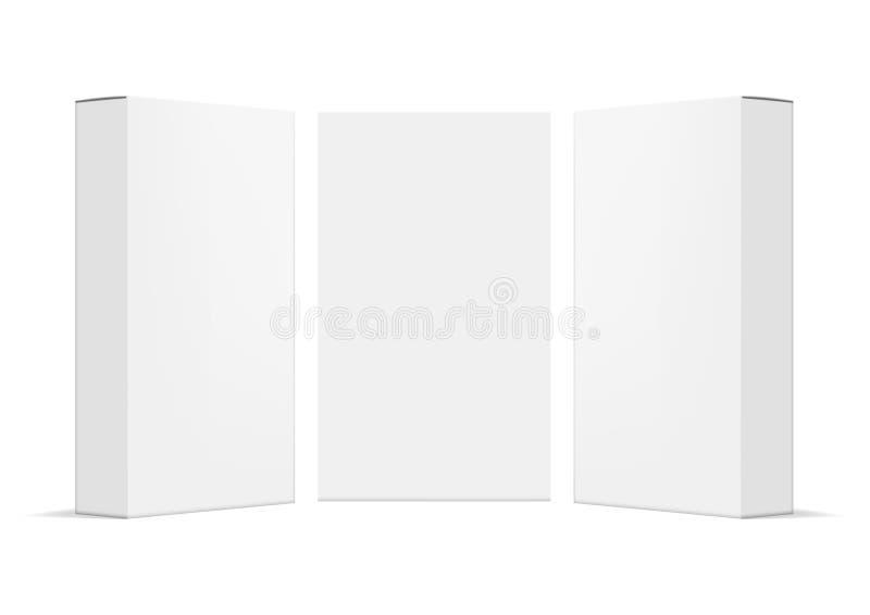 Realistisk enkel tom packe för paketlådaprodukt royaltyfri illustrationer