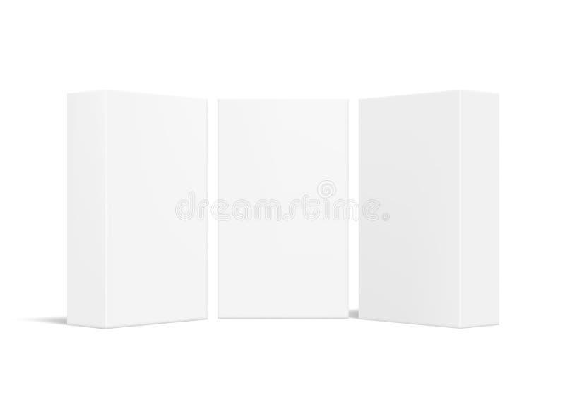 Realistisk enkel tom packe för paketlådaprodukt vektor illustrationer