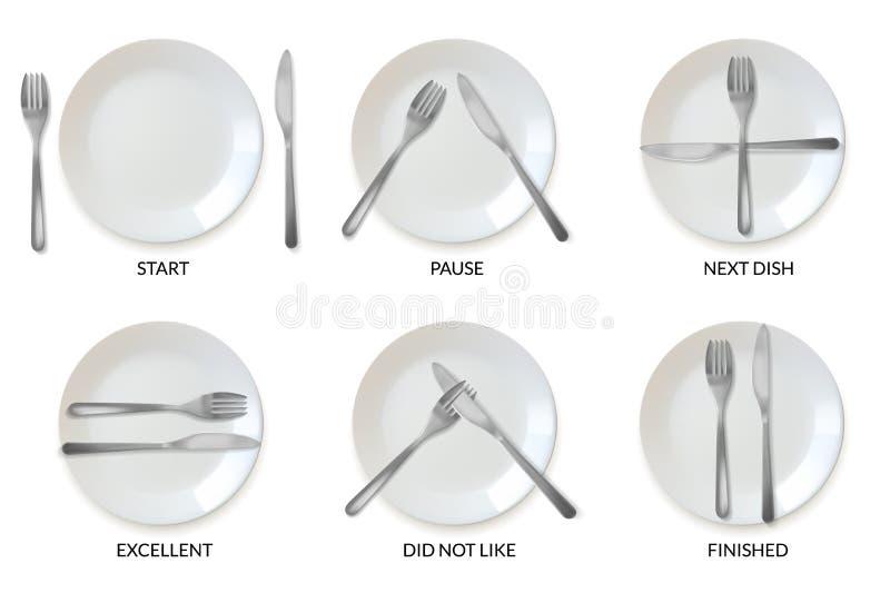 Realistisk etikett för plattabordsservisrestaurang en uppsättning av realistiskt plattor och bestick i form av etiketttecken vektor illustrationer