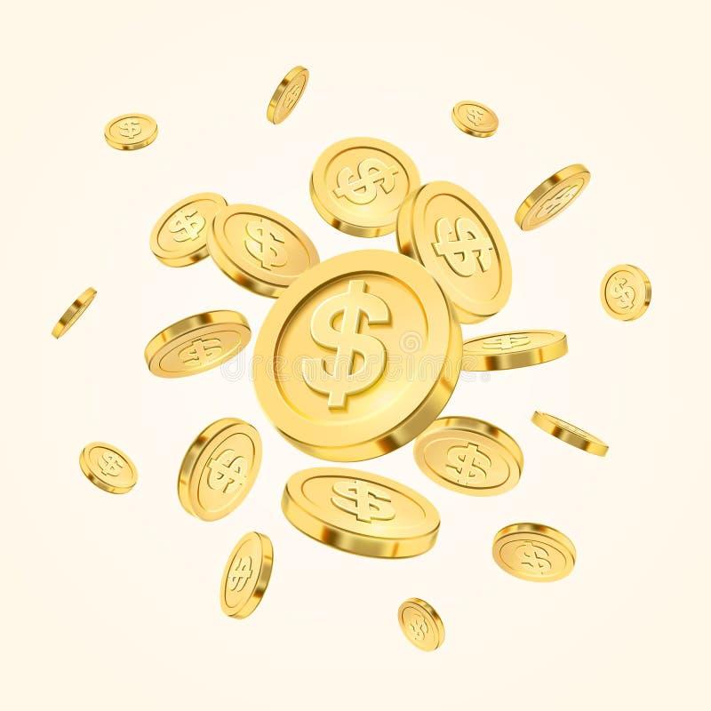 Realistisk explosion eller färgstänk för guld- mynt på vit bakgrund coins guld- regn Falla eller flyga pengar _ royaltyfri illustrationer