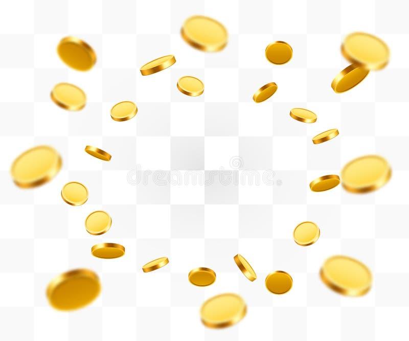 Realistisk explosion för guld- mynt Isolerat på genomskinlig bakgrund vektor illustrationer
