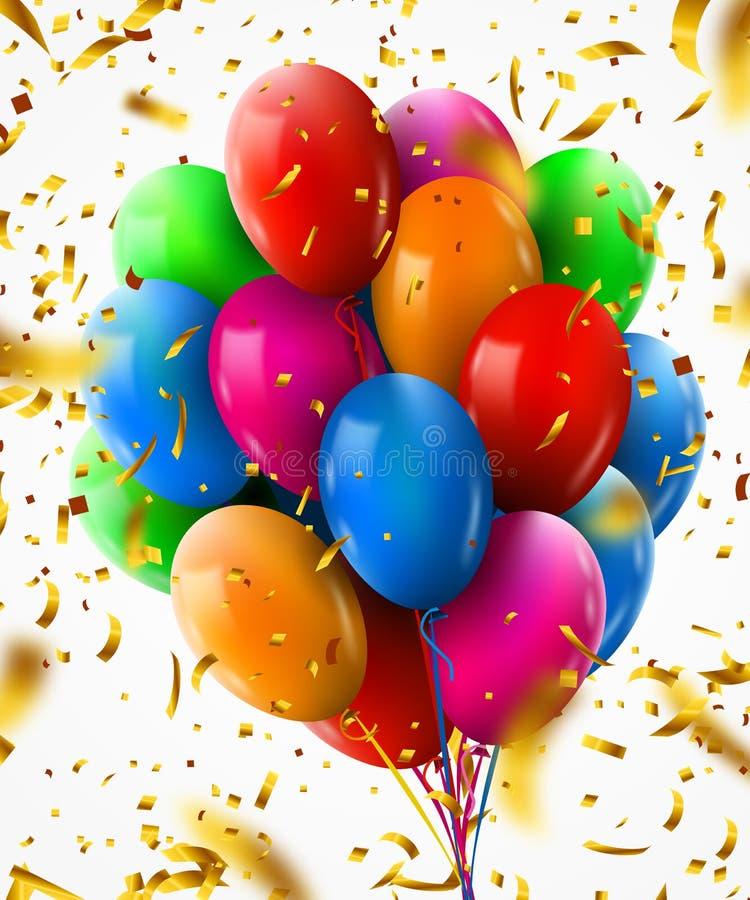 realistisk färgrik grupp 3d av födelsedagballonger med konfettier som flyger för parti och berömmar royaltyfri illustrationer