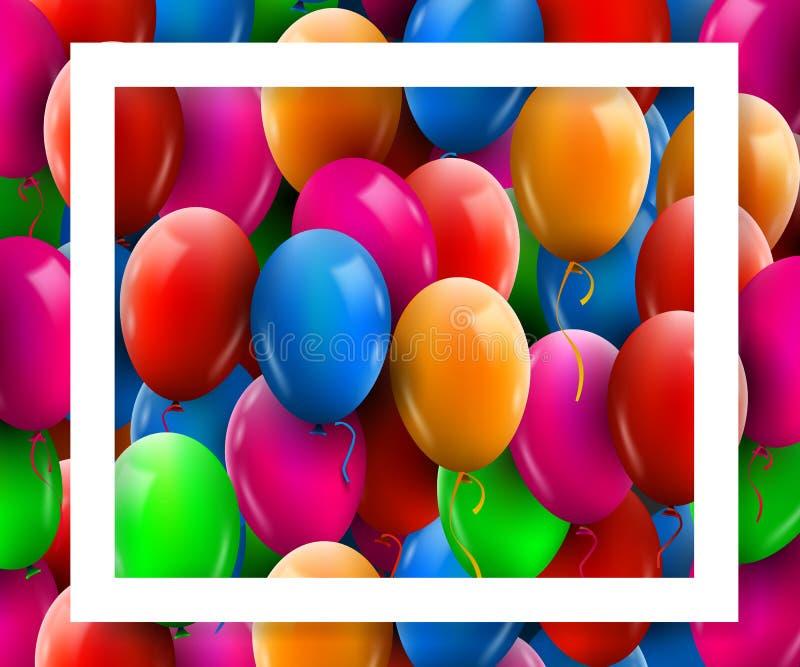 realistisk färgrik grupp 3d av födelsedagballonger som flyger för parti och berömmar med den vita ramen vektor illustrationer