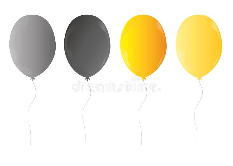 Realistisk färgrik grupp för Web3d av födelsedagballonger som flyger för parti och berömmar med utrymme för det isolerade meddela stock illustrationer