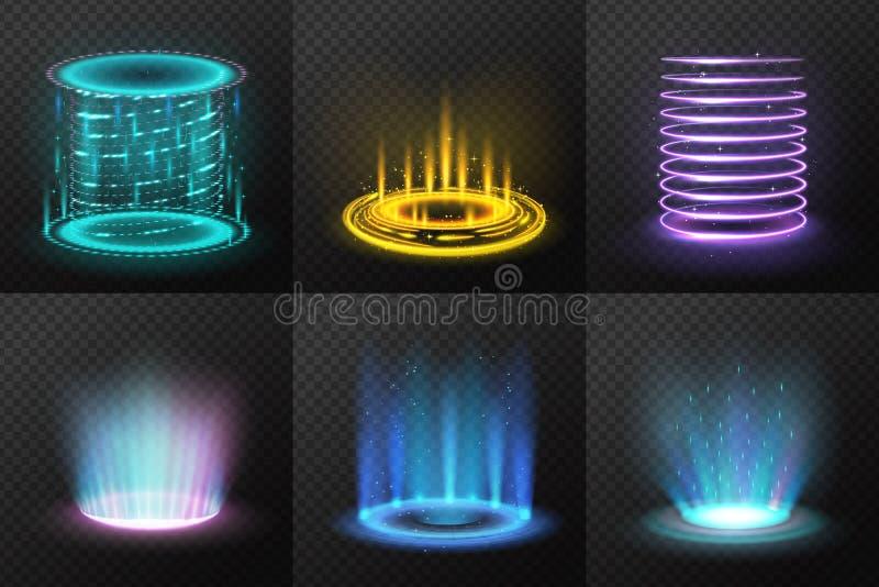Realistisk färgrik magisk portaluppsättning stock illustrationer