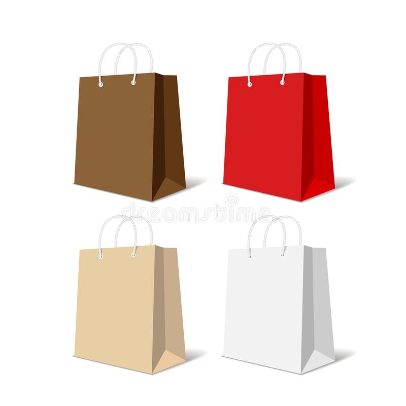 Realistisk färgrik pappers- uppsättning för shoppingpåse som isoleras på den vita bakgrundsvektorillustrationen royaltyfri illustrationer