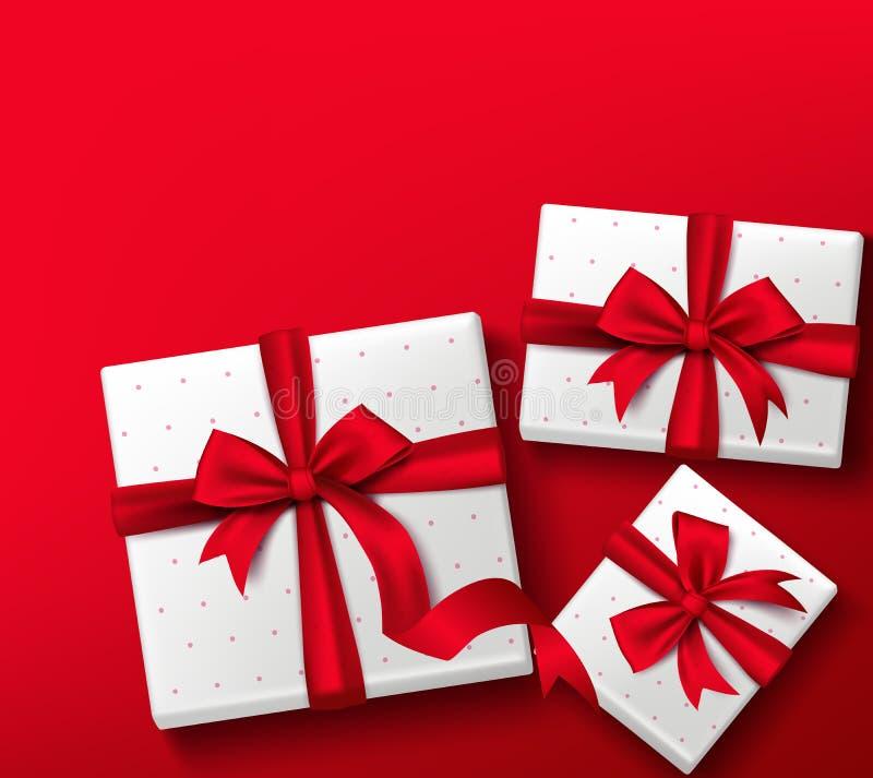 Realistisk färgrik röd ask för gåva 3D med modeller stock illustrationer