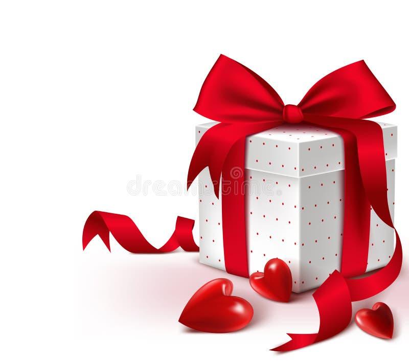 Realistisk färgrik söt röd ask för gåva 3D med hjärtor stock illustrationer