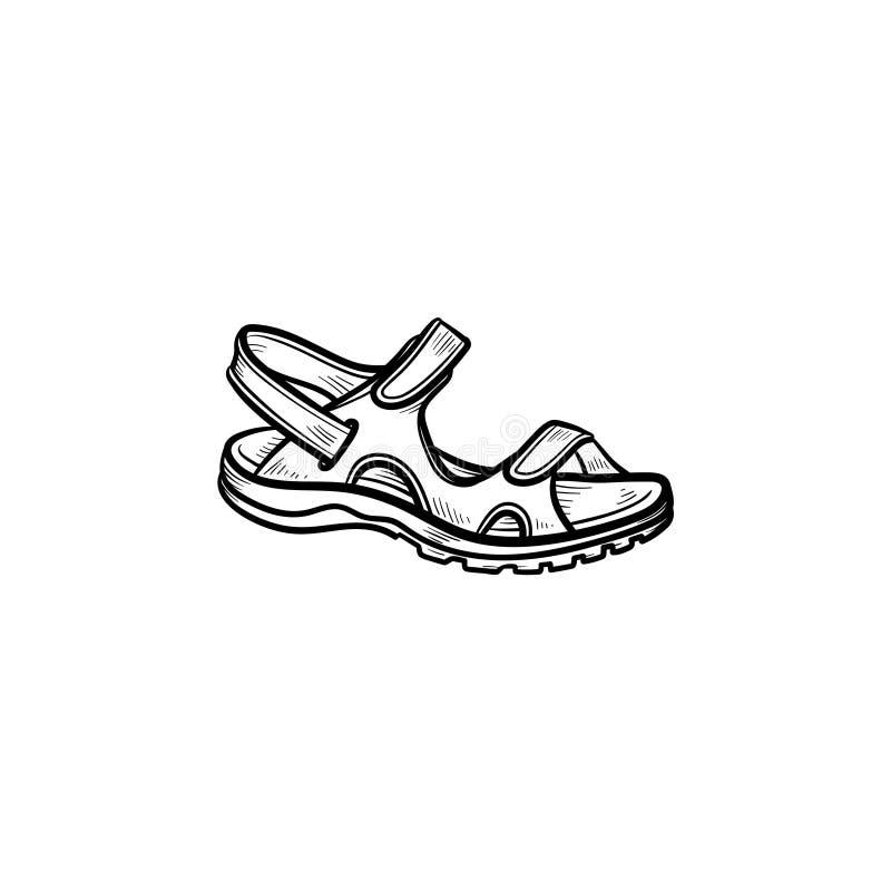 Realistisk för översiktsklotter för barn sandal dragen symbol vektor illustrationer
