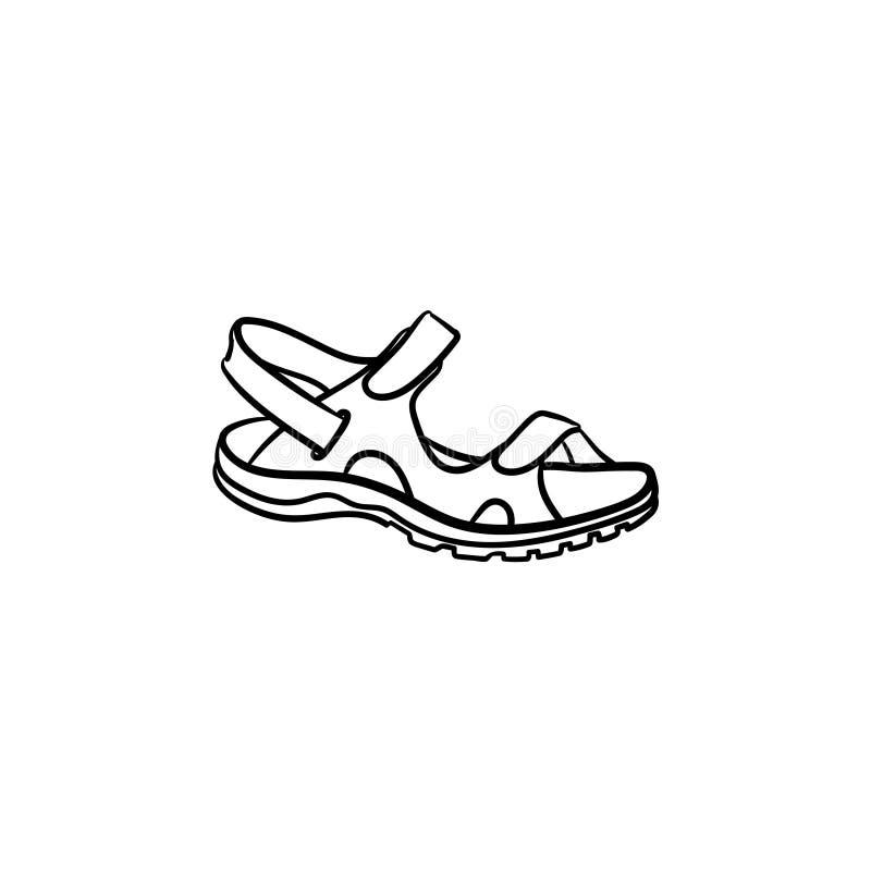 Realistisk för översiktsklotter för barn sandal dragen symbol royaltyfri illustrationer
