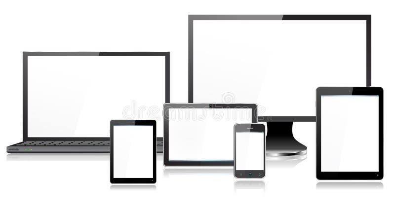 Realistisk för apparatbärbar dator för mobil dator för Smartphone för skärm för bildskärm kortkort minnestavla royaltyfri illustrationer