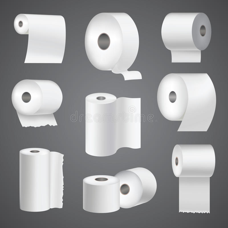 Realistisk för toalettpapper för rulle för åtlöje mall för kökshandduk för vit 3d för mellanrum för illustration för vektor upp u vektor illustrationer
