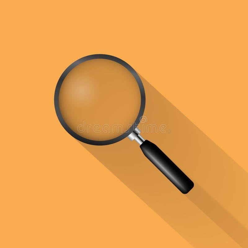 Realistisk förstoringsglassymbol på orange bakgrund, vektor vektor illustrationer