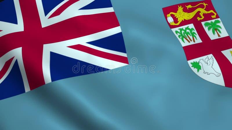 Realistisk fijiansk flagga vektor illustrationer