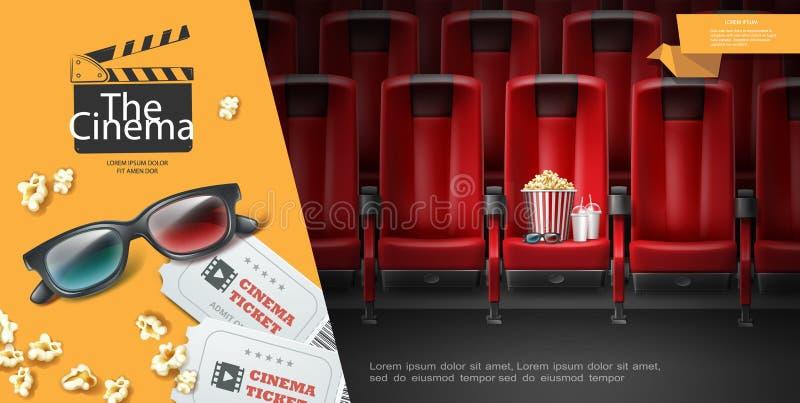 Realistisk filmpremiärmall royaltyfri illustrationer