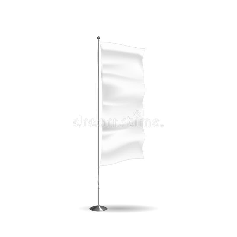 Realistisk flagga, textilbaner och advertizingorientering, vit advertizingställning stock illustrationer