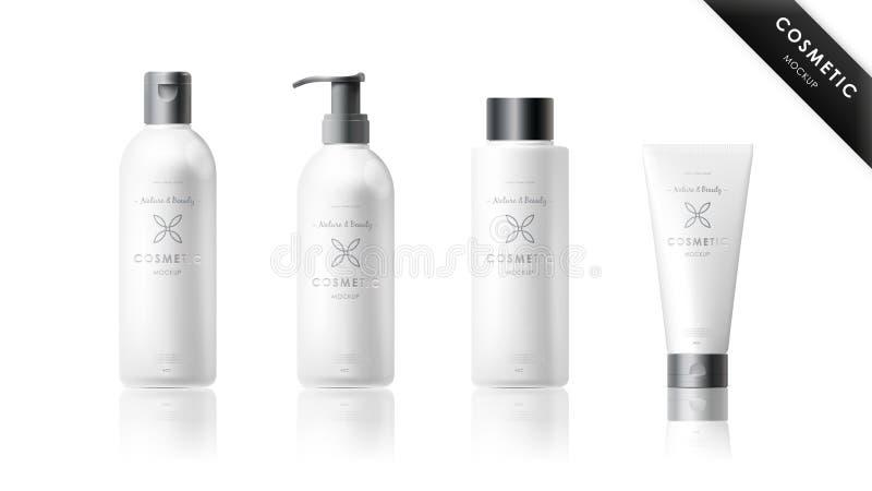 Realistisk flaskuppsättning Kosmetisk märkesmall vektor illustrationer