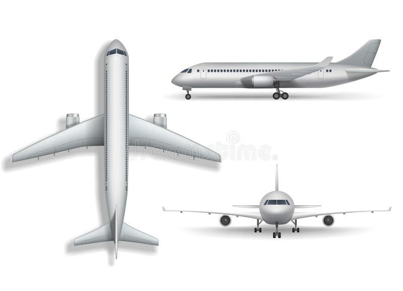 Realistisk flygplanåtlöje för silver som isoleras upp Flygplan illustration för trafikflygplan 3d på vit bakgrund Uppsättning av  vektor illustrationer
