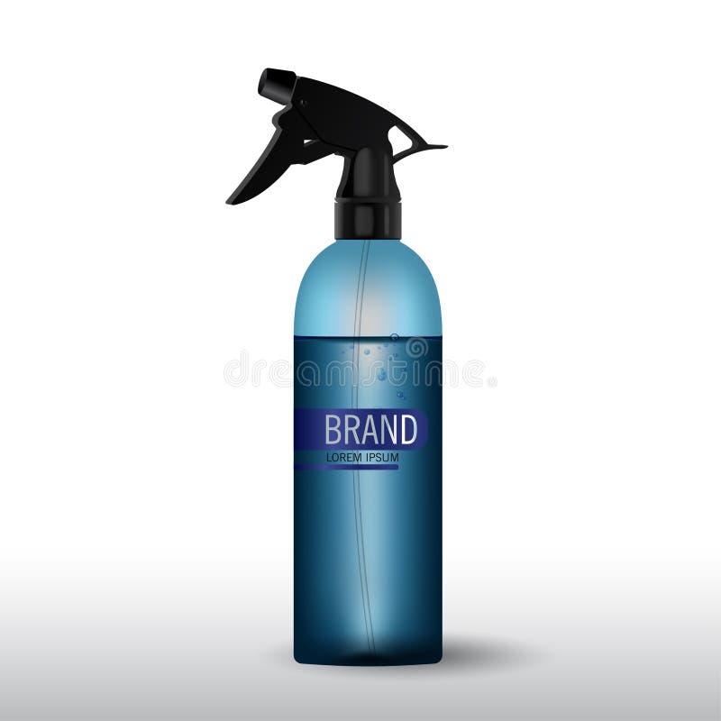 Realistisk genomskinlig blåttflaska för skönhetsmedelkrämbehållare bottle spray royaltyfri illustrationer
