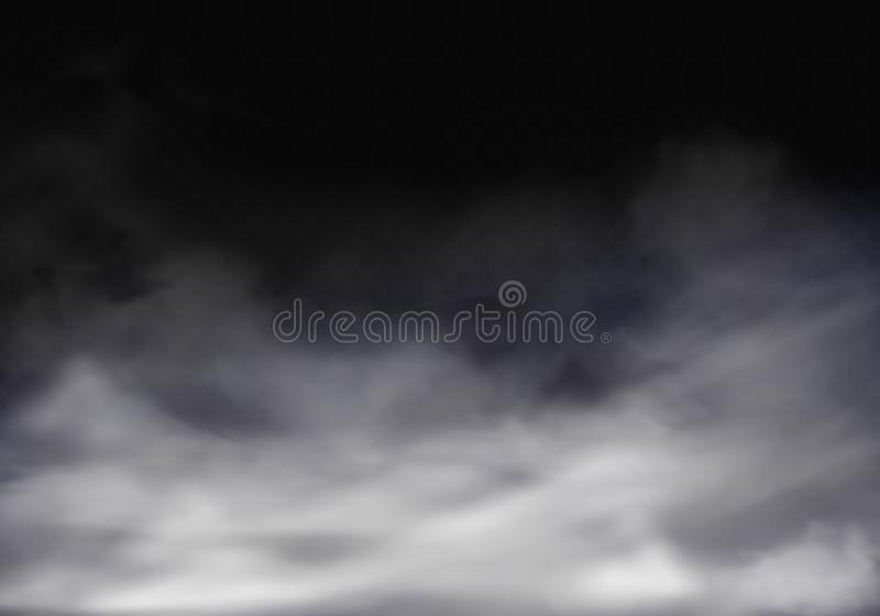 Realistisk genomskinlig dimma för vektor 3d, grå mist vektor illustrationer