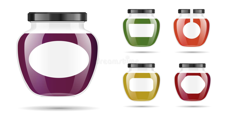 Realistisk genomskinlig glass krus med driftstopp, confituren eller sås Bevara den förpackande uppsättningen Etikett och logo för stock illustrationer